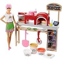 Barbie Métiers poupée pizzaïola avec kit pizzeria comprenant four, accessoires pour repas et trois pots de pâte à…