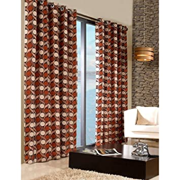 Living Room Curtains amazon living room curtains : Terracota Beige Orange Eyelet Curtains Heavy Weight Chennille ...