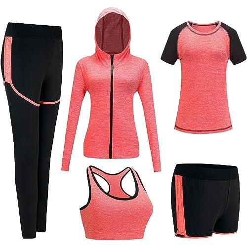 VTJU Abbigliamento Sportivo da Donna Tuta da Ginnastica Yoga Suit 5 Pezzi Completo Sportivo Fitness Running Jogging Training Abbigliamento