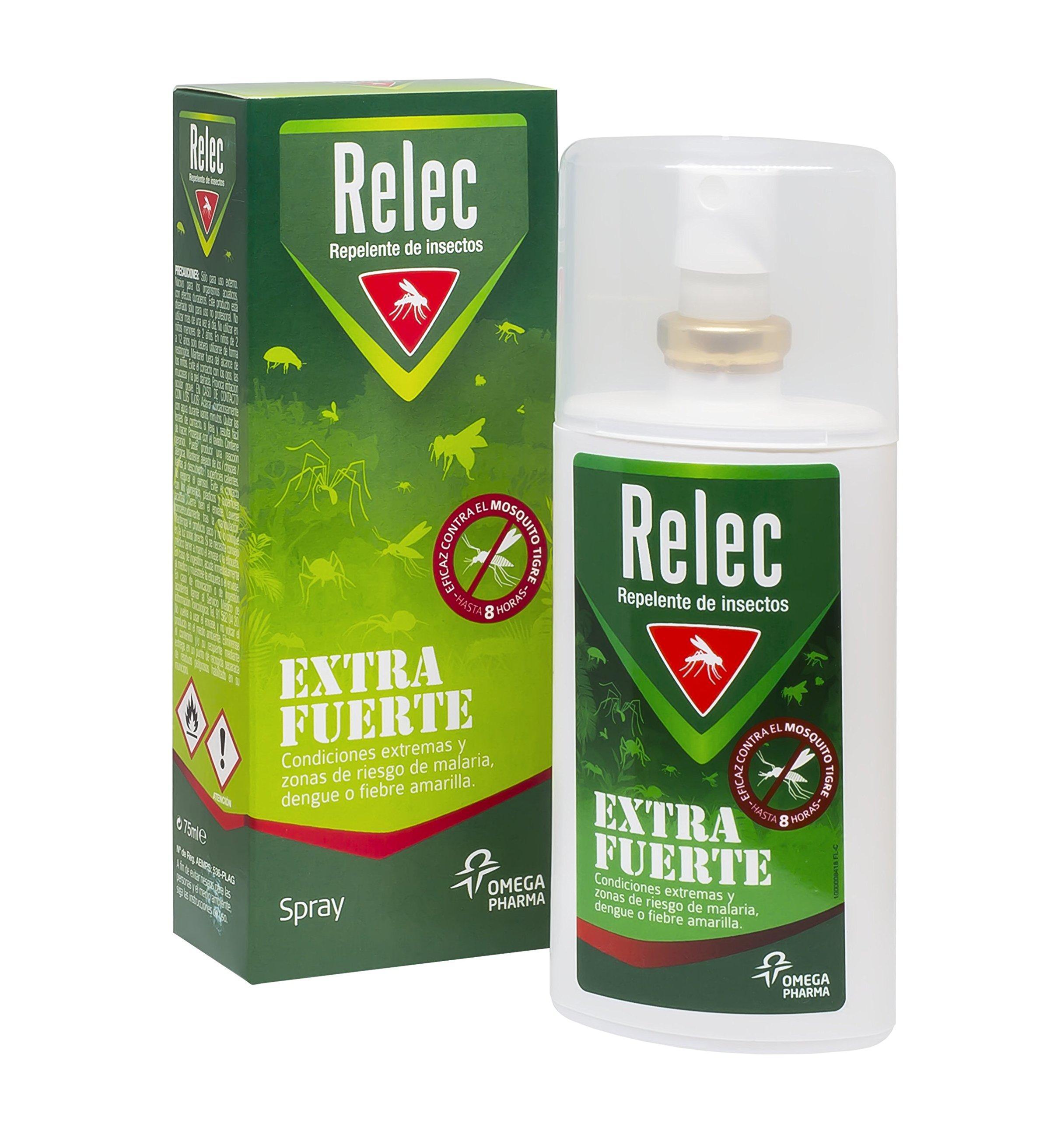 Relec Extra Fuerte Spray Eficaz Antimosquitos DEET 50%. Repelente mosquitos – 75 ml