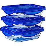 Pyrex® - Cook & Go - Lot de 3 boîtes de conservation rectangulaires en verre avec couvercles hermétiques et étanches - 20x15c