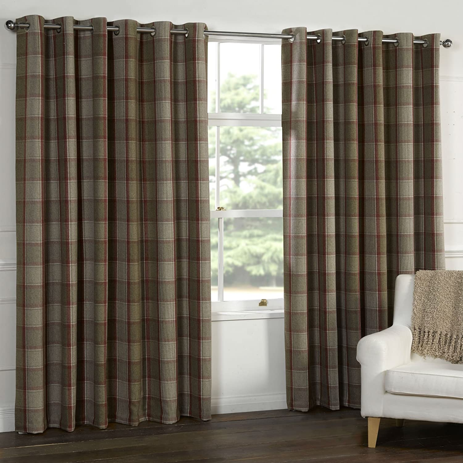 Wool Touch Heavy Lined Tartan Tweed Plaid Curtains Red Natural