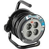 Energaline 208611 PROLONGATEUR elektrische 10 m met kabelhaspel (stroomkabel, 4 stopcontacten 16 A deel 3 G1,5 mm2 grijs