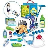 STAY GENT Kit Dottore Giocattolo Valigetta Dottoressa Peluche per Bambini, Set Gioco Veterinario Giocattolo con Trasportino a