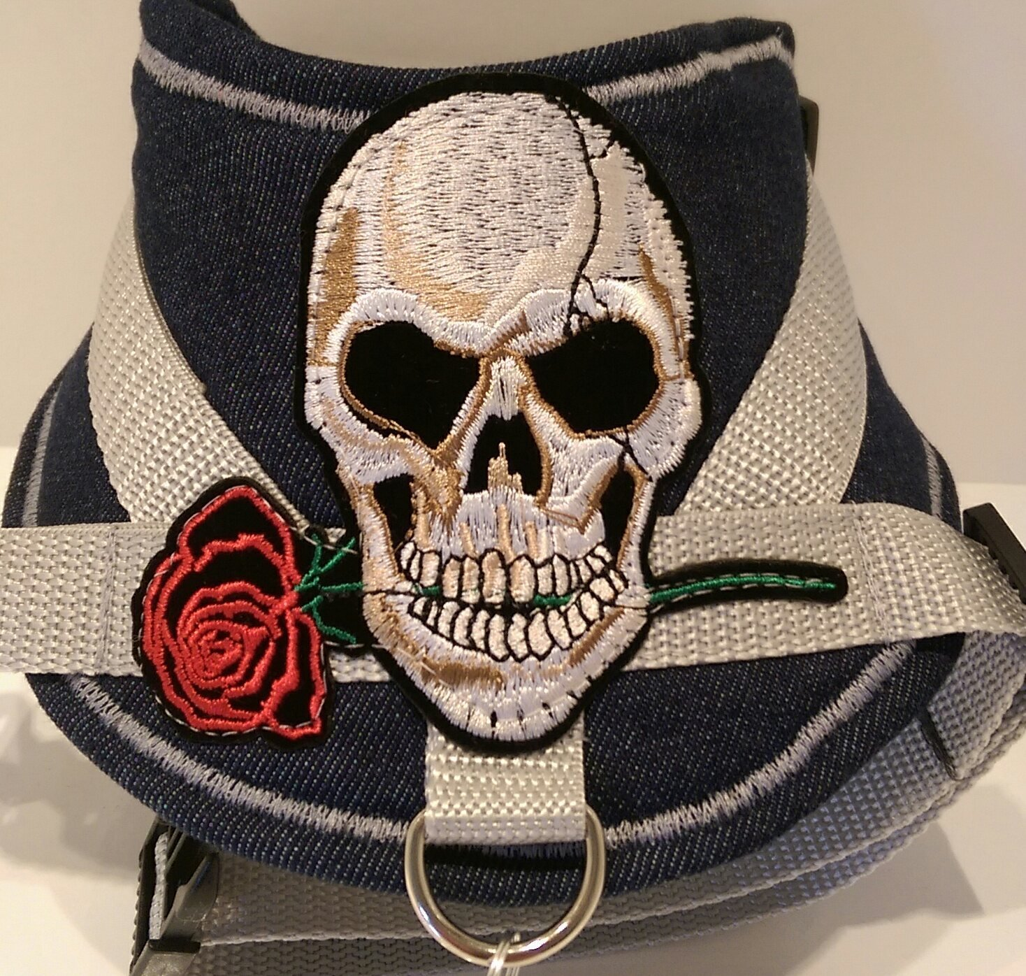 MASI Dogs Design Medium Pug Dog Westie Small Denim Skull with Rose Soft Harness Adjustable Chest Harness Small French Bulldog