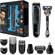 Braun Multigrooming-Set MGK3085 Elektrisches Rasierer Set, 9-in-1 Präzisionstrimmer für Bart- und Haarstyling, schwarz/blau
