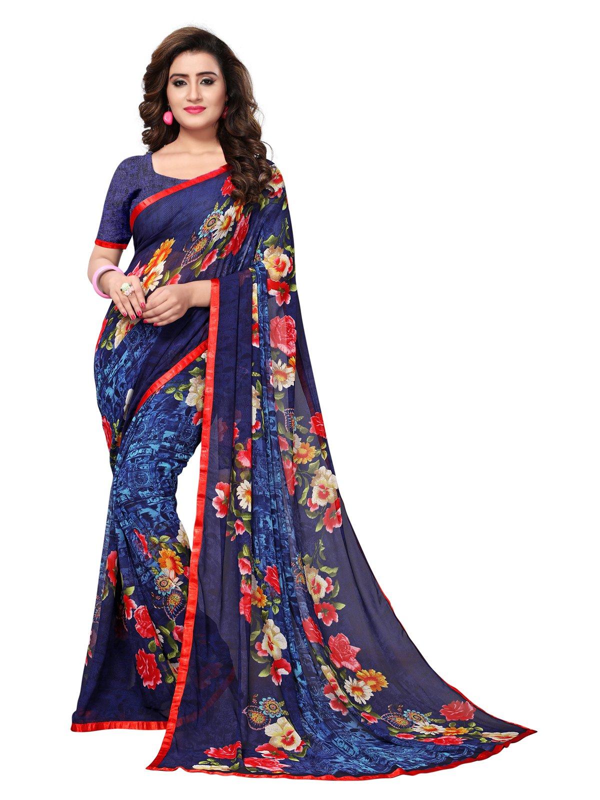 Kanchnar Women's Navy Blue Georgette Printed Saree