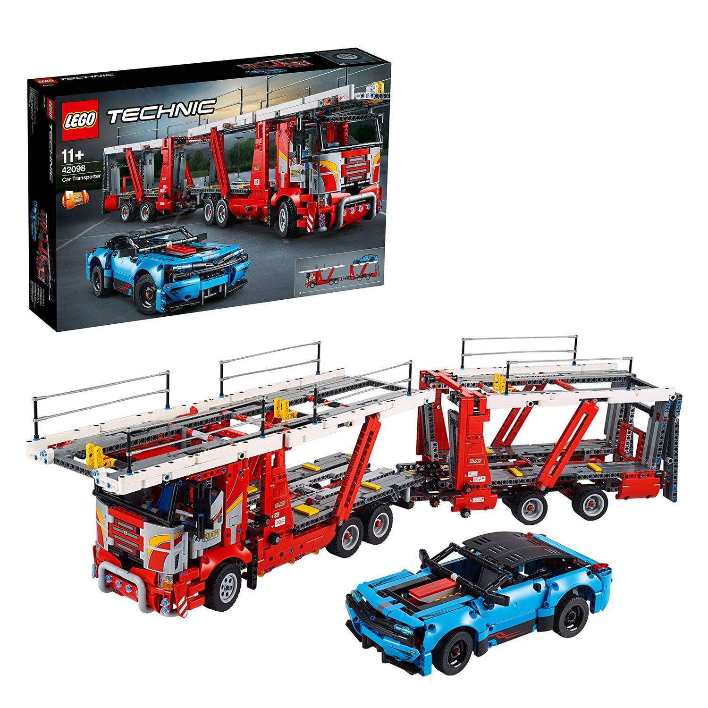 LEGO Technic 42098 – Autotransporter inkl. Auto, mit Laderampe, rot