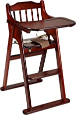 LuvLap Foldable Wooden Chair with Multipurpose Tray, Brown