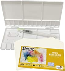 "Brustro Folding Box 33 Well Plastic Palette 26x13 cm with Brustro Aqua Squeeze Brush Small and Brustro Watercolour Paper 200 GSM, 5"" X 7"""