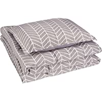 AmazonBasics Comforter Set, Twin / Twin XL, Grey Chevron, Microfiber, Ultra-Soft
