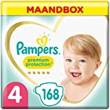 Pampers Maat 4 Premium Protection Luiers, 168 Stuks, MAANDBOX, onze Nummer 1 Luier voor Zachtheid en Bescherming van de Gevoe