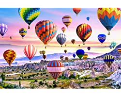Runlycan Jigsaw Puzzle 1000 Piece for Adults 1000 Pieces Puzzles for Adult Teens Fun Puzzles Games -Hot Air Balloon (70 * 50c