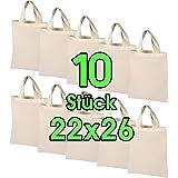 10 Stück 22 x 26 cm Baumwolltasche klein – OEKO-TEX® geprüft – Natur Apothekertasche, Tragetasche, Beutel, Geschenktasche Sto
