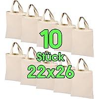10 Stück 22 x 26 cm Baumwolltasche klein – OEKO-TEX® geprüft – Natur Apothekertasche, Tragetasche, Beutel…