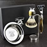 Simulated Horn and Nickel 4 Pieces Men's Shaving Set With Gillette Mach 3 Razor. Newly Designed By HARYALI LONDON
