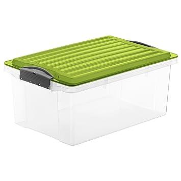 Schön Rotho Aufbewahrungs-Kiste COMPACT transparent mit Deckel in grün  UN96