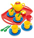 Dantoy Tea Set on Tray, Role Play Tea Party with 18 Pieces Pretend Toys for Kids – Multi-Colour