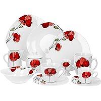 Van Well Monika Service de table 124 pièces pour 12 personnes, en porcelaine de marque, décors floraux, service de table…