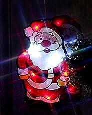 """KAMACA LED Fensterbild """" Lachender Weihnachtsmann """" Fensterlicht Fenstersilhouette rot bunt , Größe 28 cm x 18 cm mit Saugnapf zur einfachen Befestigung , integrierter Ein- und Ausschalter - Dekoration für Herbst Winter Advent und Weihnachten"""