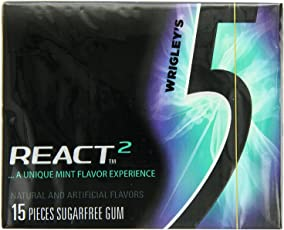 Wrigley's 5 React Mint Sugarfree Gum, 15 Pieces