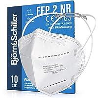 FFP2 Masken 10 Stück NR, Atemschutzmaske weiss ohne Ventil, 2x Kopfband-Verlängerung und 10x Nasenpolster 4-lagig CE…