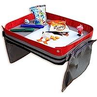 Pieghevole e Regolabile Travel Snack e Play Tray da Viaggio con 5 Carte per Pittura e 6 Penne Colorate Jojoin Strisce Rosa Vassoio da Viaggio per Bambini