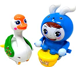 Winding up Toys for Kids and Toddlers Set of Two with Light and Music