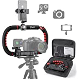 Zeadio Camera Smartphone Stabilizer, Foldable Handle Grip Handheld Video Rig with Carrying Case, Fits for All Camera, Camcord