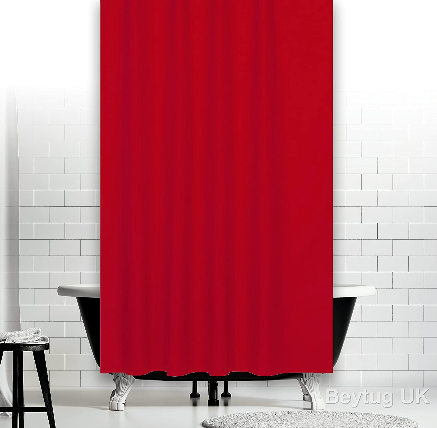 Red fabric shower curtain extra wide 240CM and extra long 200CM ...