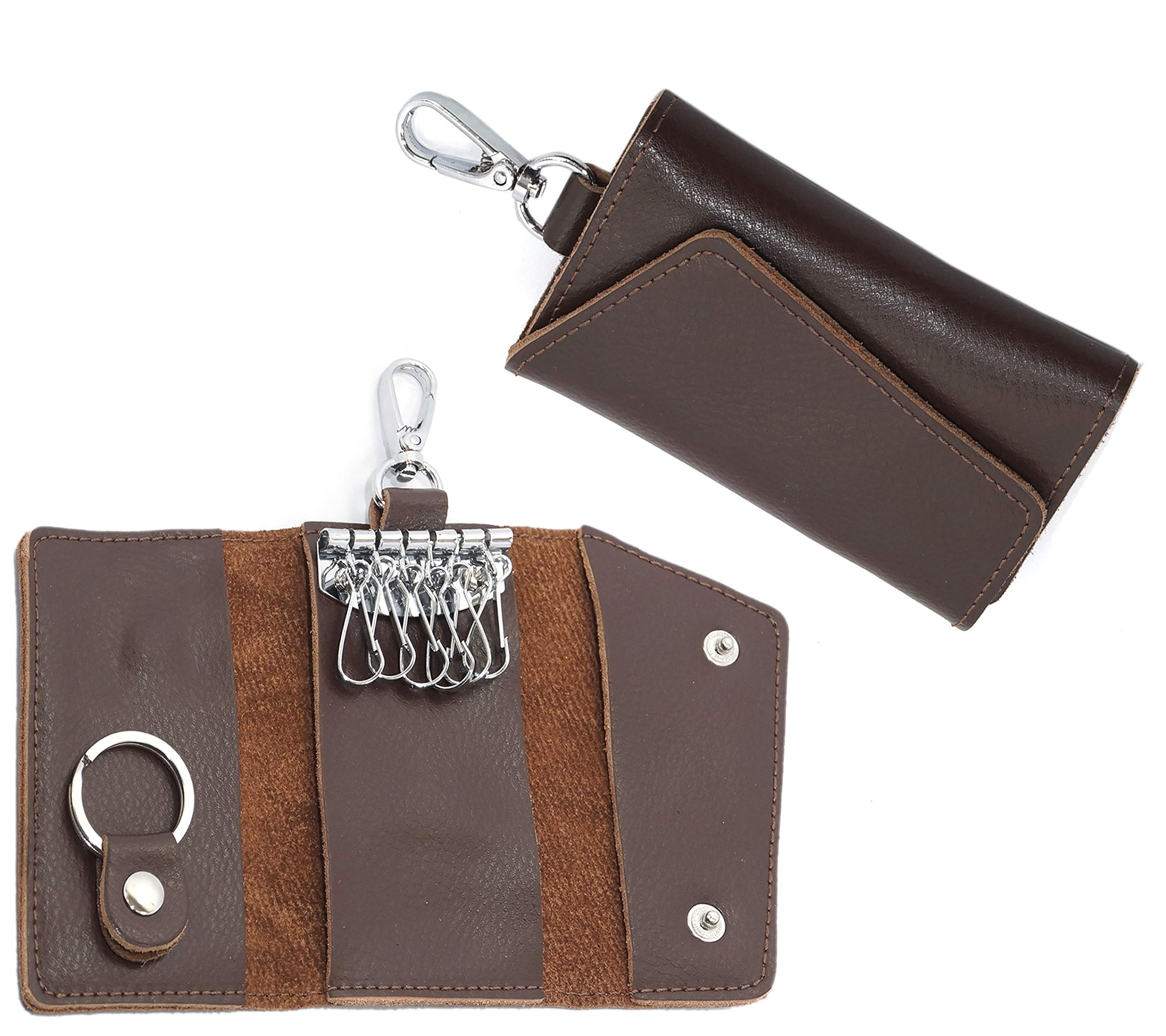 45afc2b3751c SEPAL Leather Keychain Key Holder Ring Key Pouch Wallet Case with 6 Hooks  Snap Closure for Men Women 10 x 6 cm Brown - SukhRog