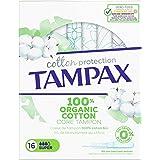 """Tampax Cotton Protection Super Avec Applicateur CÅ""""ur de Tampon en Coton Biologique, 16 Tampons"""