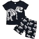 Carolilly Bambino Ragazzi Camicia Cime T-Shirt a Maniche Corte e Pantaloncini Set Coordinato 2 Pezzi Magliette Estive con Sta