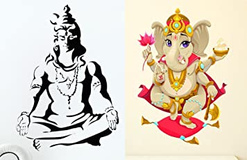 Luke and Lilly Lord Siva & Lord Vinayaga Wall Sticker - Pack of 2