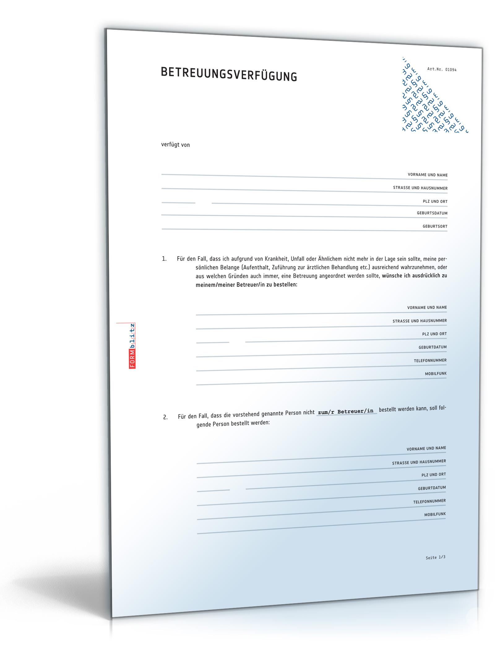 Einfache Betreuungsverfügung (PDF) [Download]