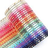 YUBX Maigre Or Washi Tape Set 24 Rouleaux Masking Tape Ruban adhesif decoratif pour Scrapbooking Artisanat de Bricolage 3MM d