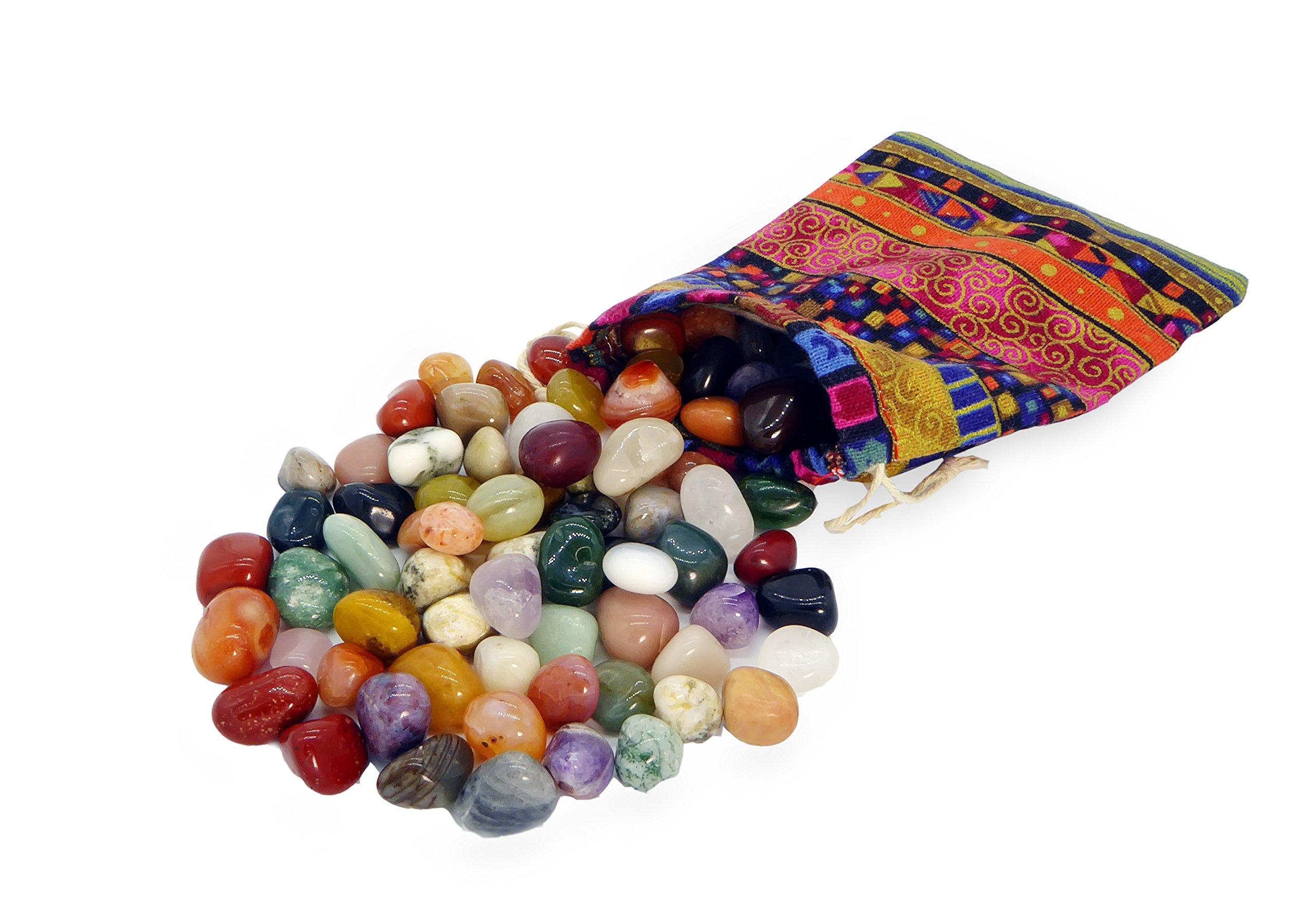 Metavio Edelstein-Set Colludo | Natürliche Trommelsteine in verschiedenen Größen | Praktisch im bunten Stoffbeutel