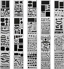 20 PCS Bullet Journal Stencil Plastic Planner Set for Journal/Notebook/Diary/Scrapbook DIY Drawing Template Journal Stencils 4x7 inch