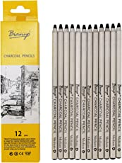 Bianyo Black Charcoal Pencils - 12 Piece Set
