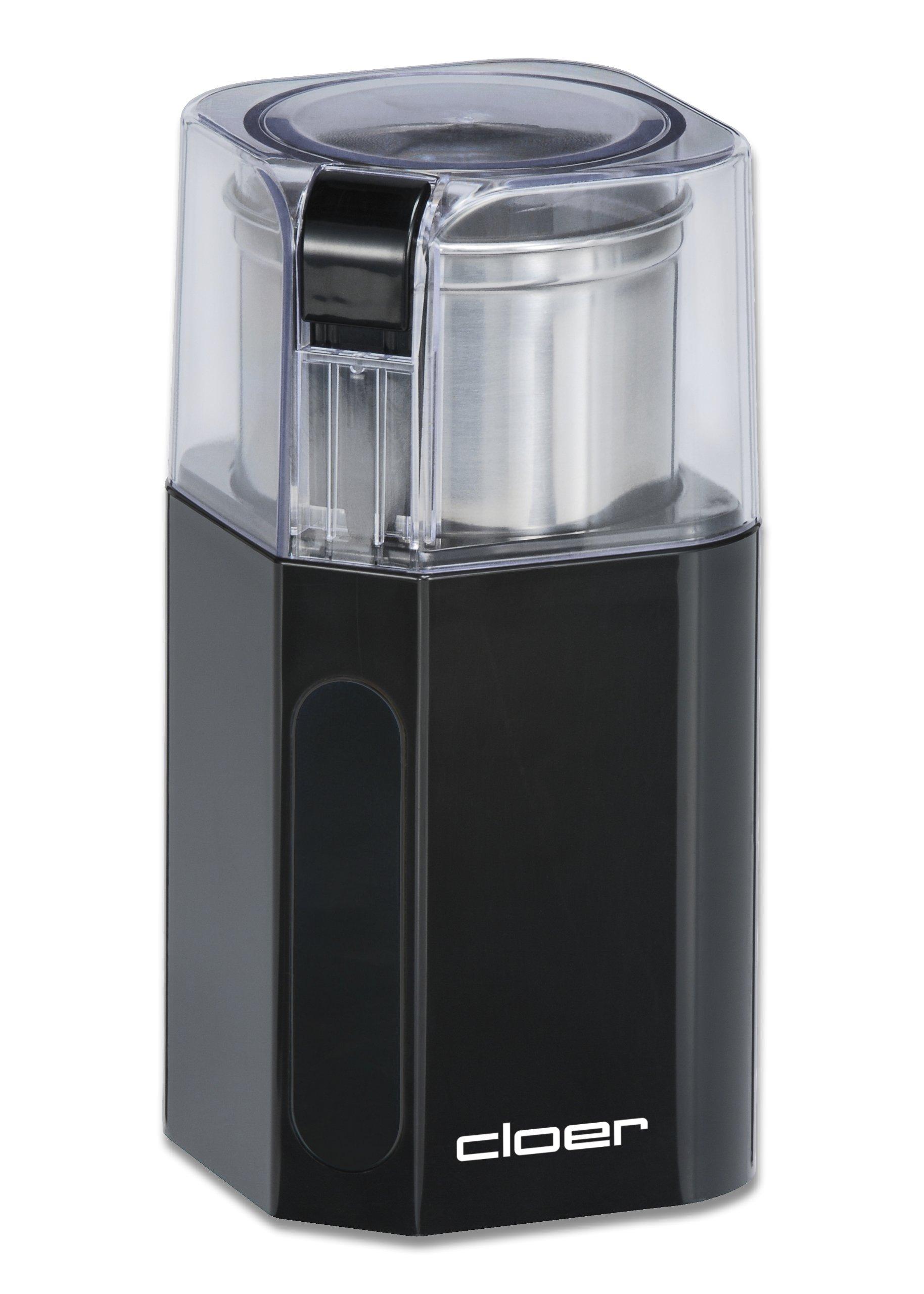 Cloer 7580 Elektrische Kaffee-und Gewürzmühle, 200 W, für Pesto, Nüsse und Getreide, bis zu 70 g Kaffeebohnen…