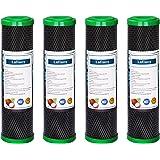 Lafiucy 5 Microns 10 pouces Filtre à eau en charbon actif de coquille de noix de coco, CTO, 4 packs, compatible avec le systè