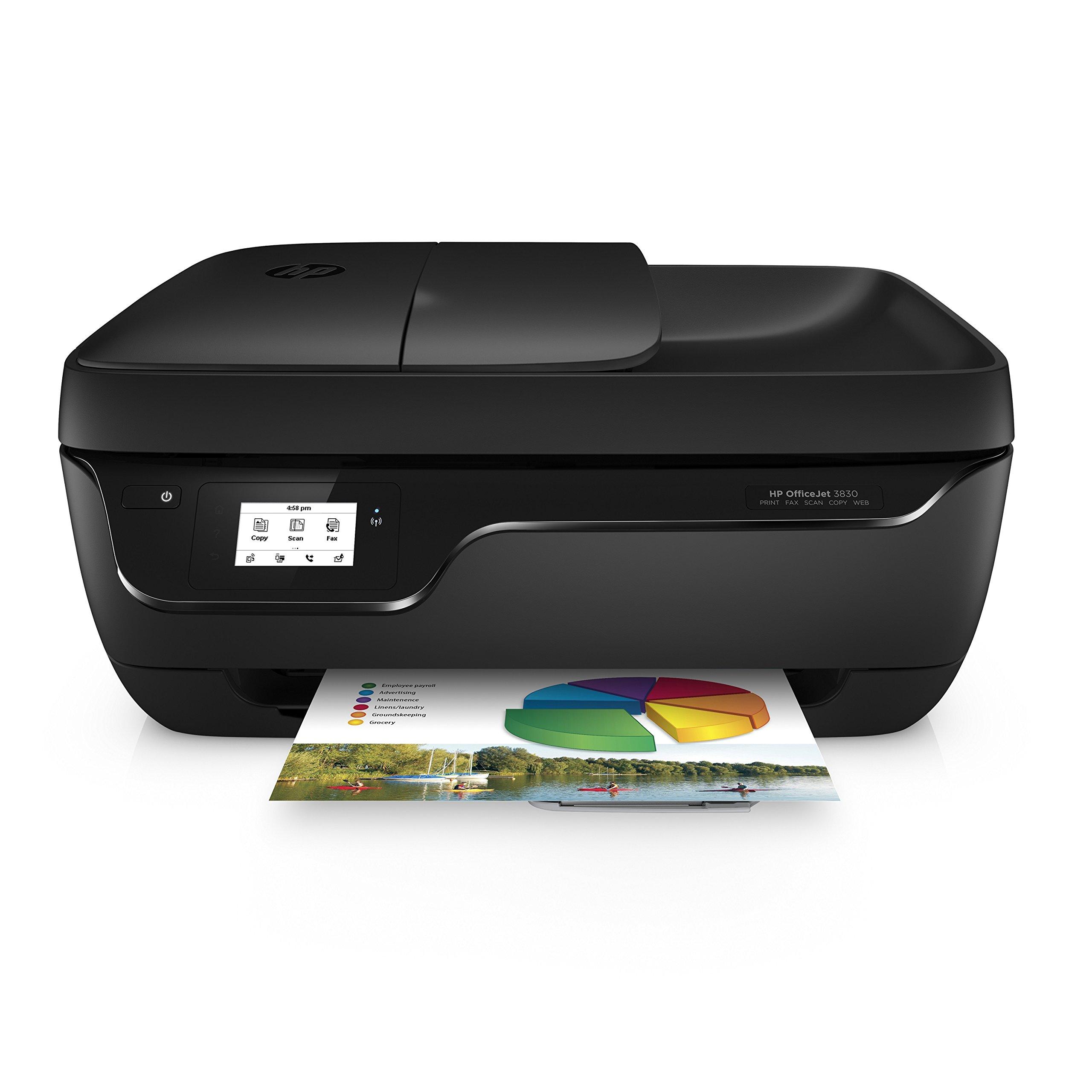 HP OfficeJet – Impresora Multifunción de Tinta (512 MB, 600 x 300 dpi, 1200 x 1200 dpi, A4, 216 x 297 mm, Color, WiFi, Compatible con HP Instant Ink), Blanco y Negro
