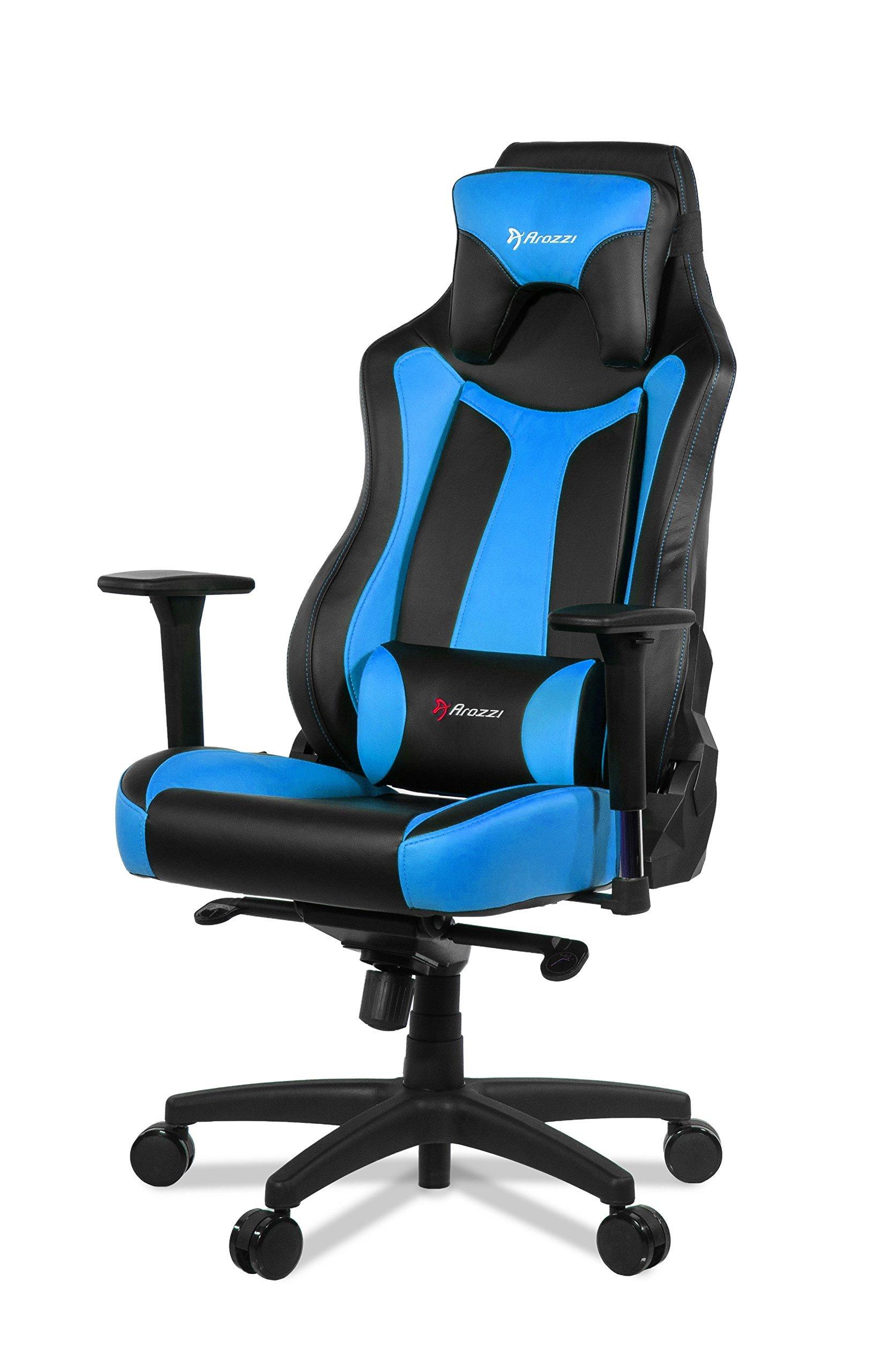 Arozzi – Silla Vernazza para Gamer – Silla giratoria y con Base de Ruedas en Color Azul y Negro para Gamer