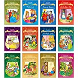 Story Books for Little Kids - Fairy Tales (Illustrated) (Set of 12 Books) - Rapunzel, Puss in Boots, Little Red Cap, Blacky a