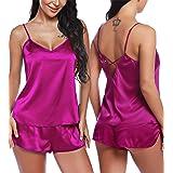 RSLOVE Women V Neck Sexy Lingerie Satin Sleepwear Pajamas Cami Shorts Set Nightwear