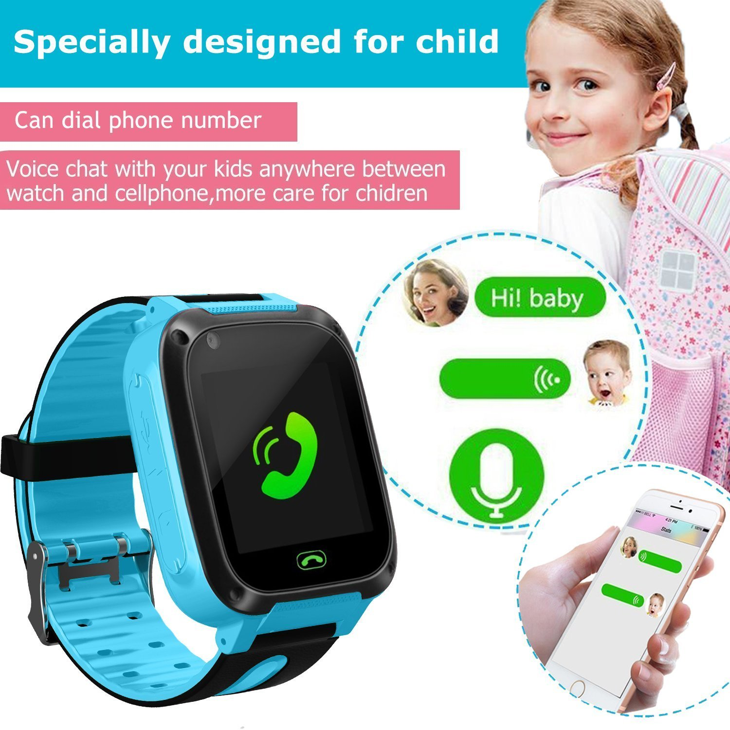 Kids Smart Watch Phone GPS Tracker Smart Wrist Watch For 3 12 Year Old Boys Girls With SOS Camera Sim Card Slot Touch Screen Game Smartwatch Outdoor Activities Toys Childrens Day Gift