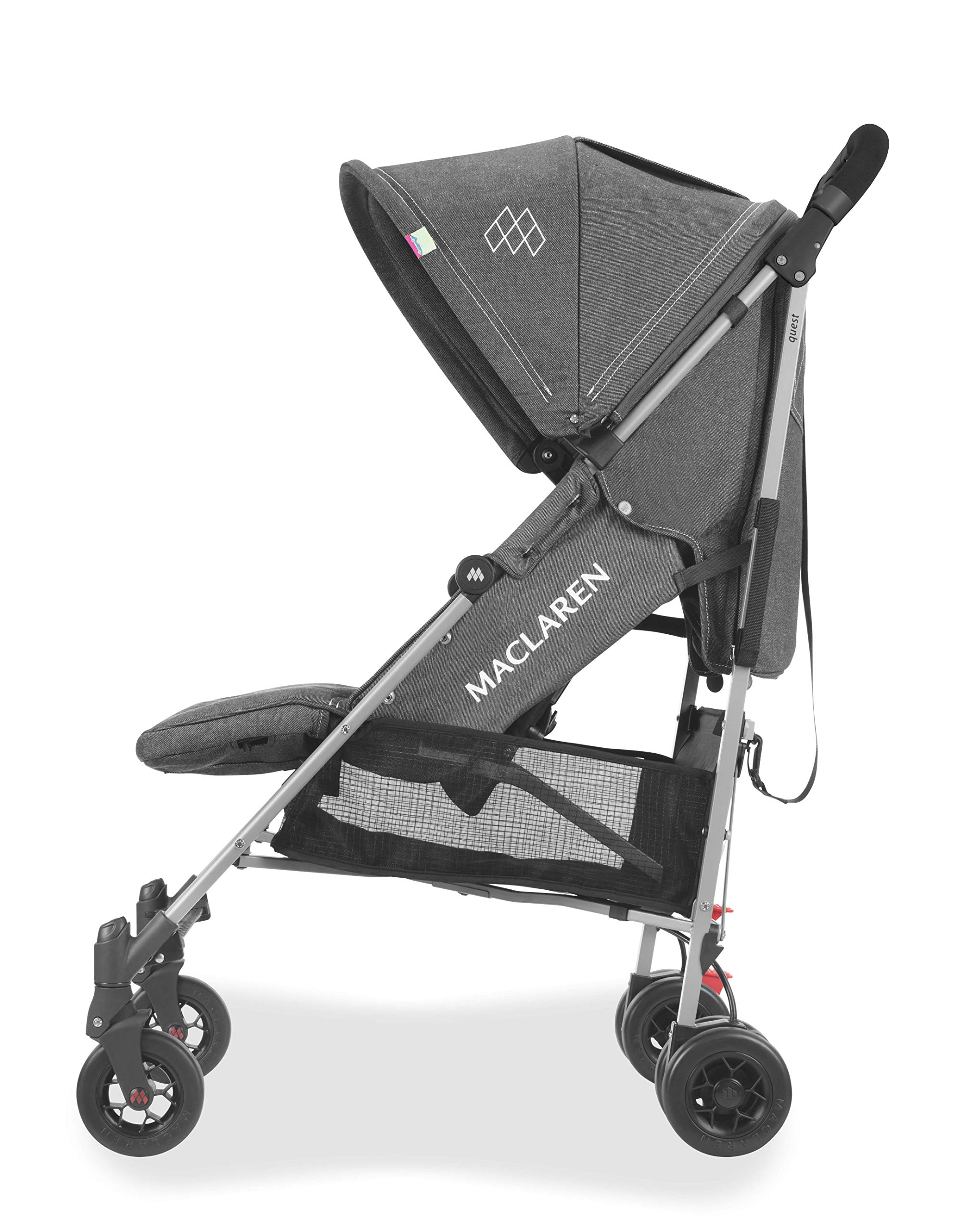 Maclaren Quest Arc Stroller- Ideal for Newborns up to 25kg with extendable UPF 50+/Waterproof Hood, Multi-Position seat and 4-Wheel Suspension. Maclaren Carrycot Compatible. Accessories in The Box Maclaren Lightweight and compact. ideal for newborns and children up to 25kg. you can do it all with one-hand- open, close, push and adjust the seat, footrest and front safety lock Comfy and perfect for travel. the quest arc's padded seat reclines into 4 positions and converts into a new-born safety system. coupled with ultra light flat-free eva tires and all wheel suspension Smart product for active parents. compatible with the maclaren carrycot. all maclaren strollers have waterproof/ upf 50+ hoods to protect from the elements and machine washable seats to keep tidy 11