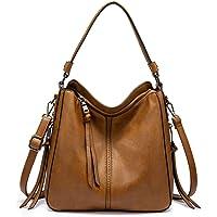 Realer - Borsa a tracolla da donna in finta pelle, con nappe, colore: marrone chiaro