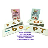 MFM TOYS Sandpaper Tactile English Letters Flashcards (Uppercase + Lowercase Combo)