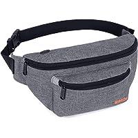 WANDF Waist Bum Bag Fanny Pack Bumbag for Men Women Hip Belt Bun Bag for Festival Sport Hiking Running Jogging Walking (Grey)